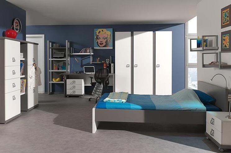 deco chambre ado garcon bleu gris visuel 3. Black Bedroom Furniture Sets. Home Design Ideas