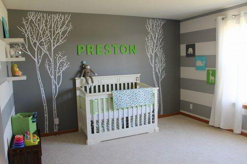 deco chambre bebe gris et blanc