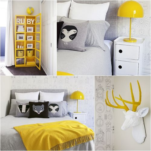 D co chambre jaune et gris for Decoration maison jaune