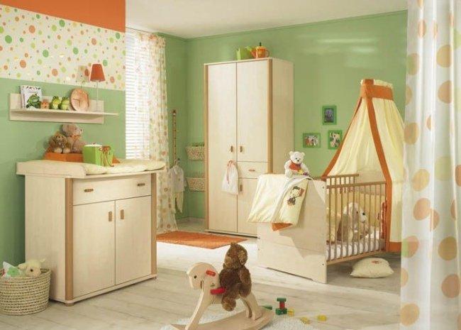 deco chambre bebe vert orange - visuel #5