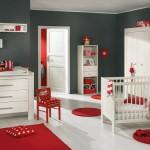 deco chambre fille gris et rouge