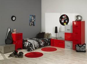 deco chambre fille gris et rouge - visuel #7