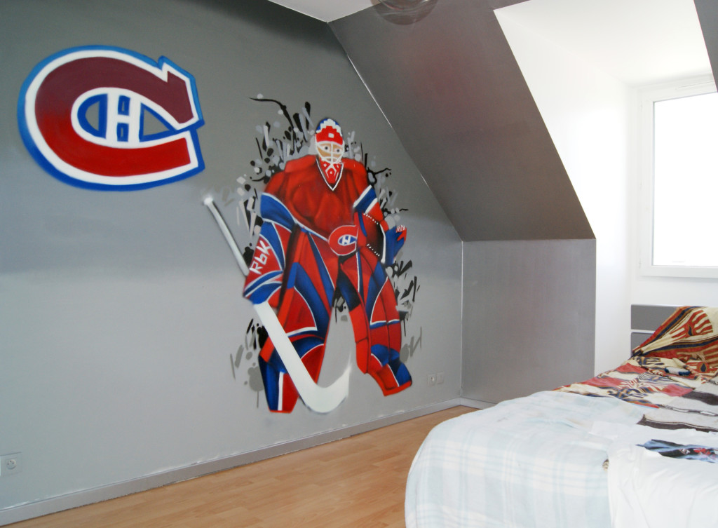 Deco chambre garcon hockey visuel 4 for Glace murale decorative