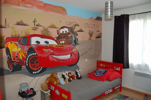 D co chambre cars - Decoration murale bebe chambre ...
