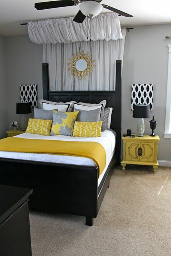 D co chambre jaune et gris for Decoration jaune