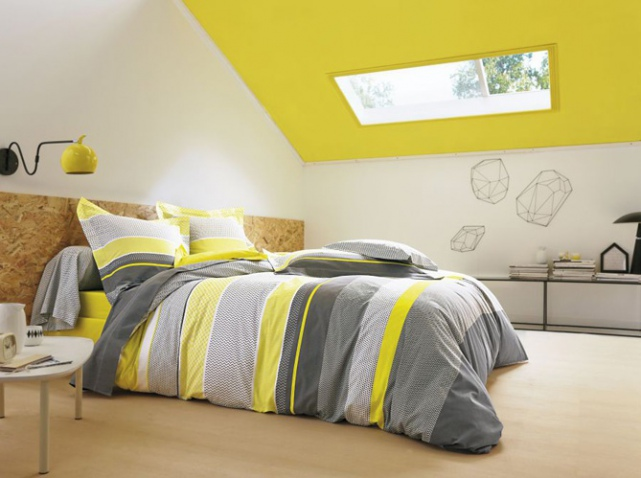 decoration chambre jaune et gris. Black Bedroom Furniture Sets. Home Design Ideas