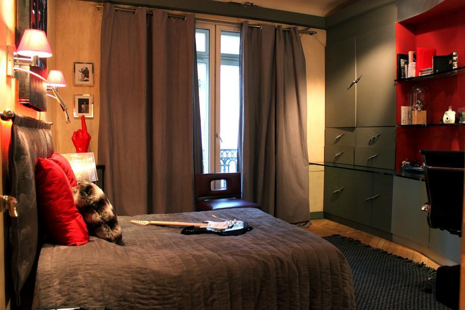 decoration chambre rouge et beige - visuel #5