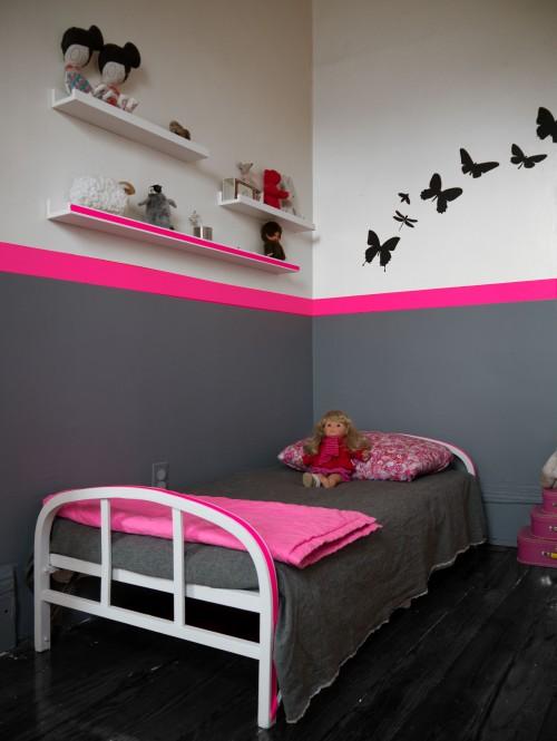 idee deco chambre fille rose et gris - visuel #1