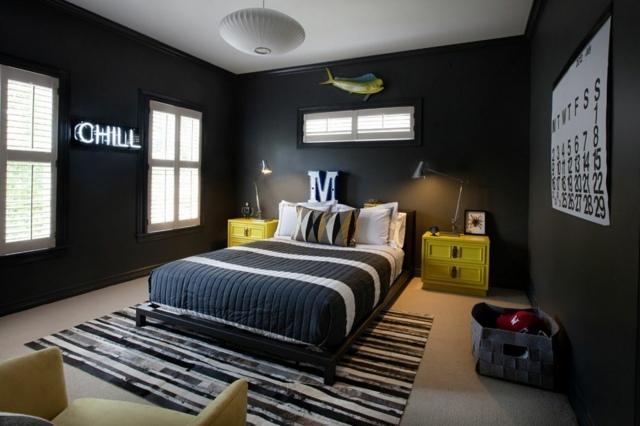 Stunning deco chambre grise et verte contemporary design trends