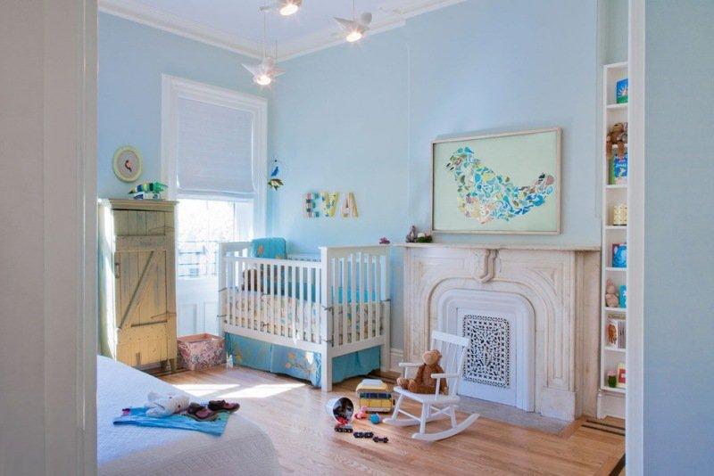 Chambre bebe couleur bleu for Chambre avec coiffeuse