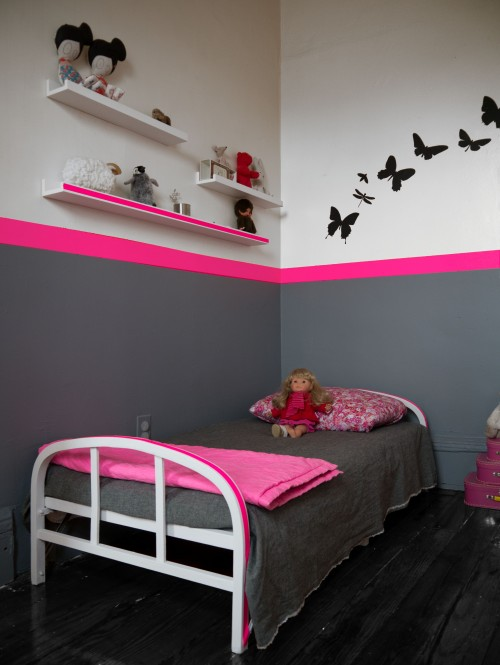 chambre a coucher gris et rose. Black Bedroom Furniture Sets. Home Design Ideas