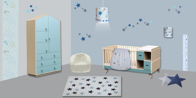 decoration chambre bebe etoiles visuel 4. Black Bedroom Furniture Sets. Home Design Ideas