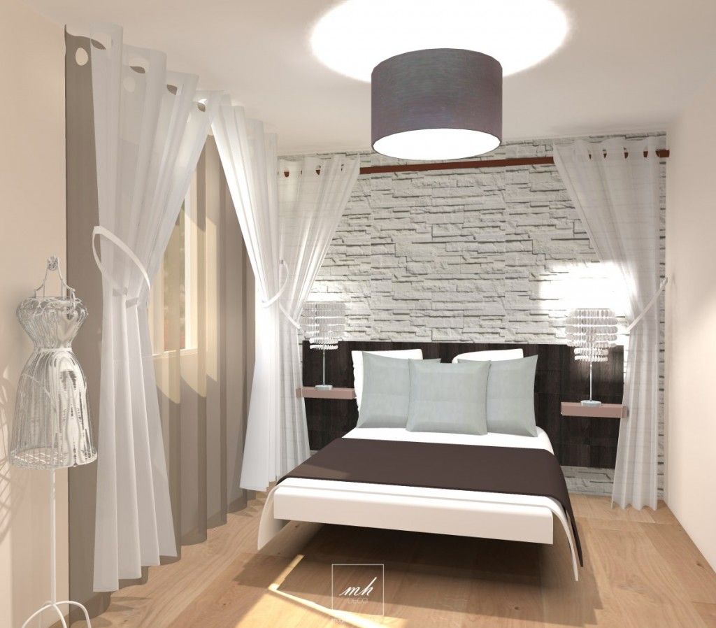 Chambre parentale marron for Deco chambre parentale grise