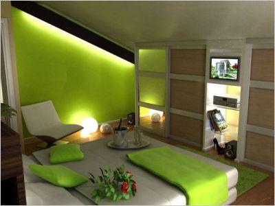 decoration chambre verte et marron - visuel #4