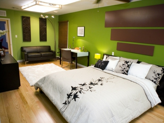 d co chambre vert et marron. Black Bedroom Furniture Sets. Home Design Ideas