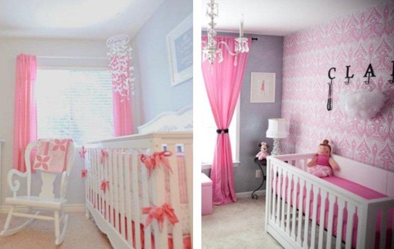 idee deco chambre bebe rose et gris - visuel #9