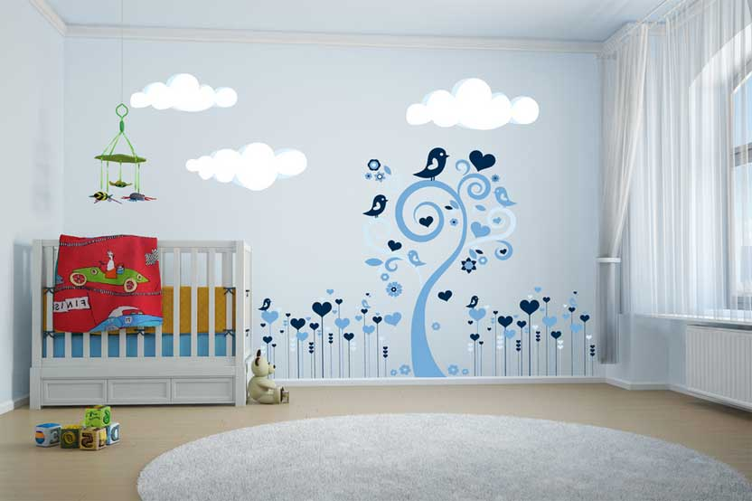 Idee deco chambre fille stickers visuel 9 for Sticker mural chambre fille
