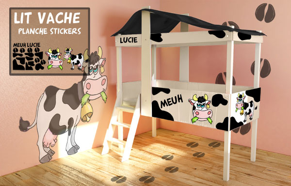 D coration chambre vache for Stickers mouton chambre bebe