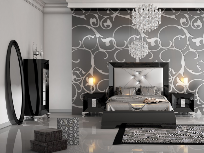 Idee deco chambre gris noir for Deco argente salon