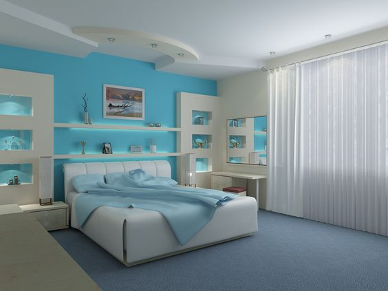 decoration chambre bleu turquoise visuel 4. Black Bedroom Furniture Sets. Home Design Ideas