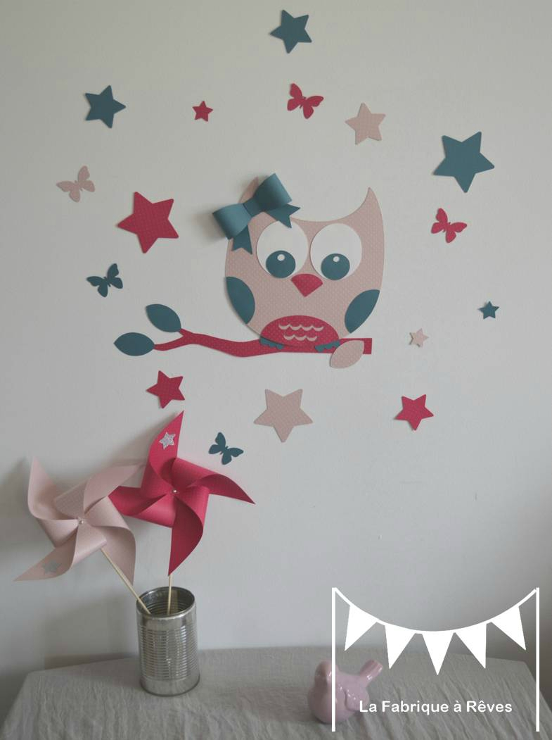 Decoration chambre fille hibou for Decoration murale chambre fille