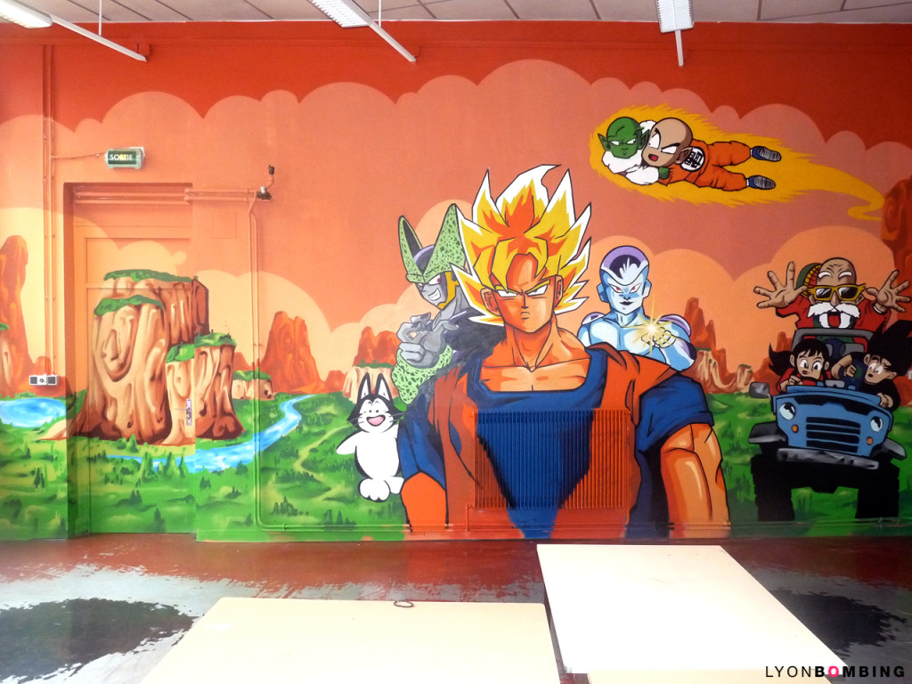 D co chambre dragon ball z for Decoration murale dragon ball z