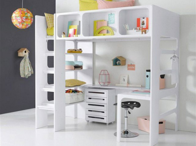 lit mezzanine avec bureau pour fille visuel 3. Black Bedroom Furniture Sets. Home Design Ideas
