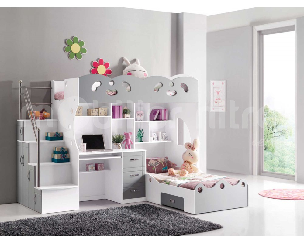 lit mezzanine avec bureau pour fille visuel 9. Black Bedroom Furniture Sets. Home Design Ideas