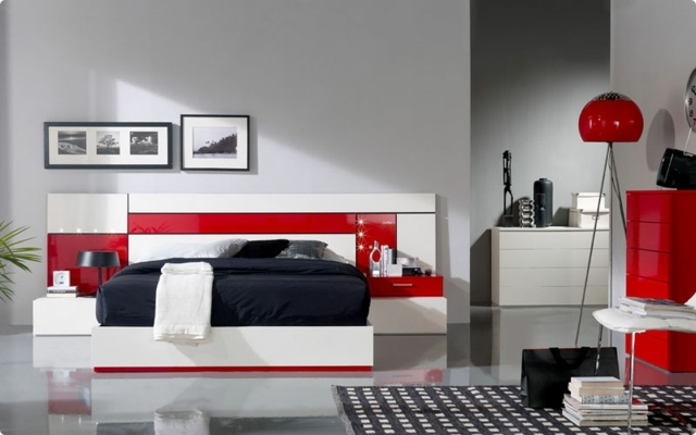 chambre deco gris rouge visuel 6. Black Bedroom Furniture Sets. Home Design Ideas