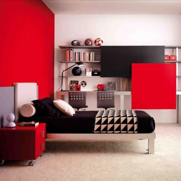 Merveilleux Deco Chambre Ado Fille Rouge Et Gris U2013 Visuel #2. «