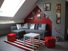 deco chambre ado fille rouge et gris visuel 4