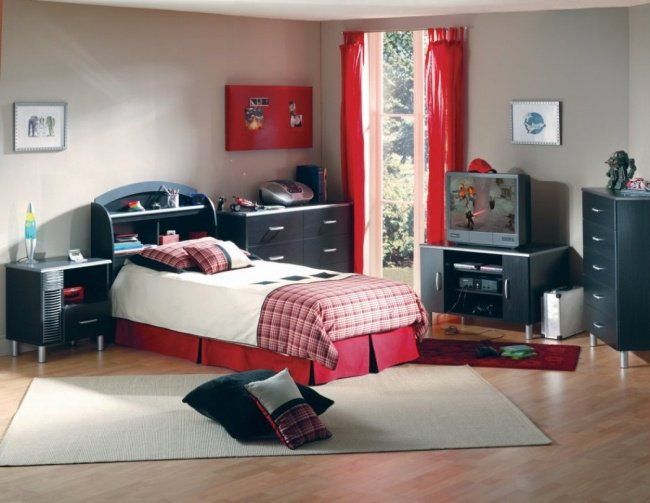 deco chambre ado fille rouge et gris visuel 8. Black Bedroom Furniture Sets. Home Design Ideas