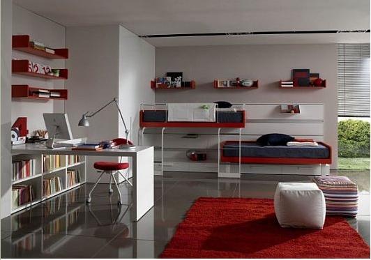deco chambre ado rouge et gris