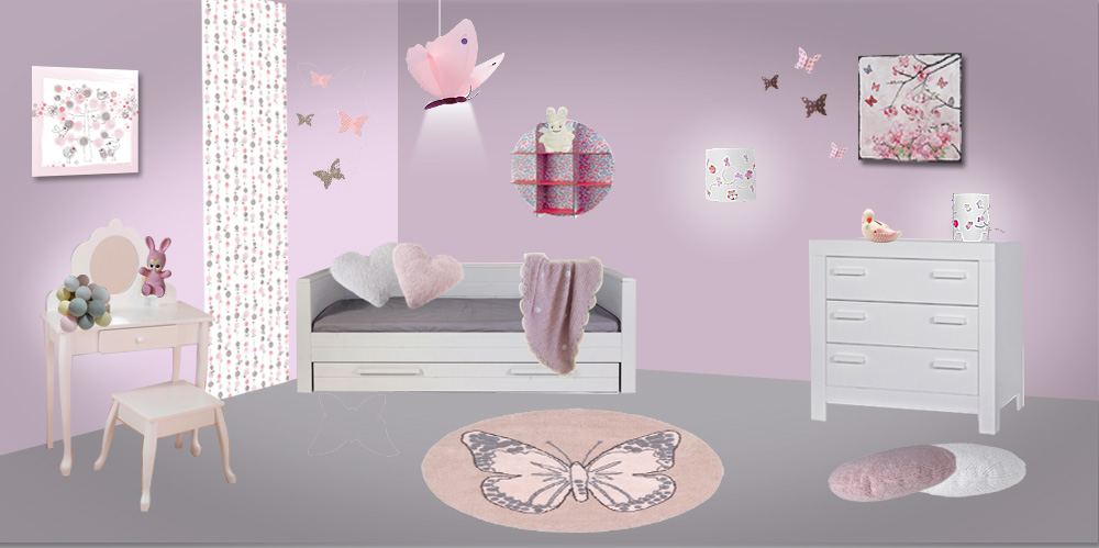 deco chambre fille theme papillon visuel 6. Black Bedroom Furniture Sets. Home Design Ideas