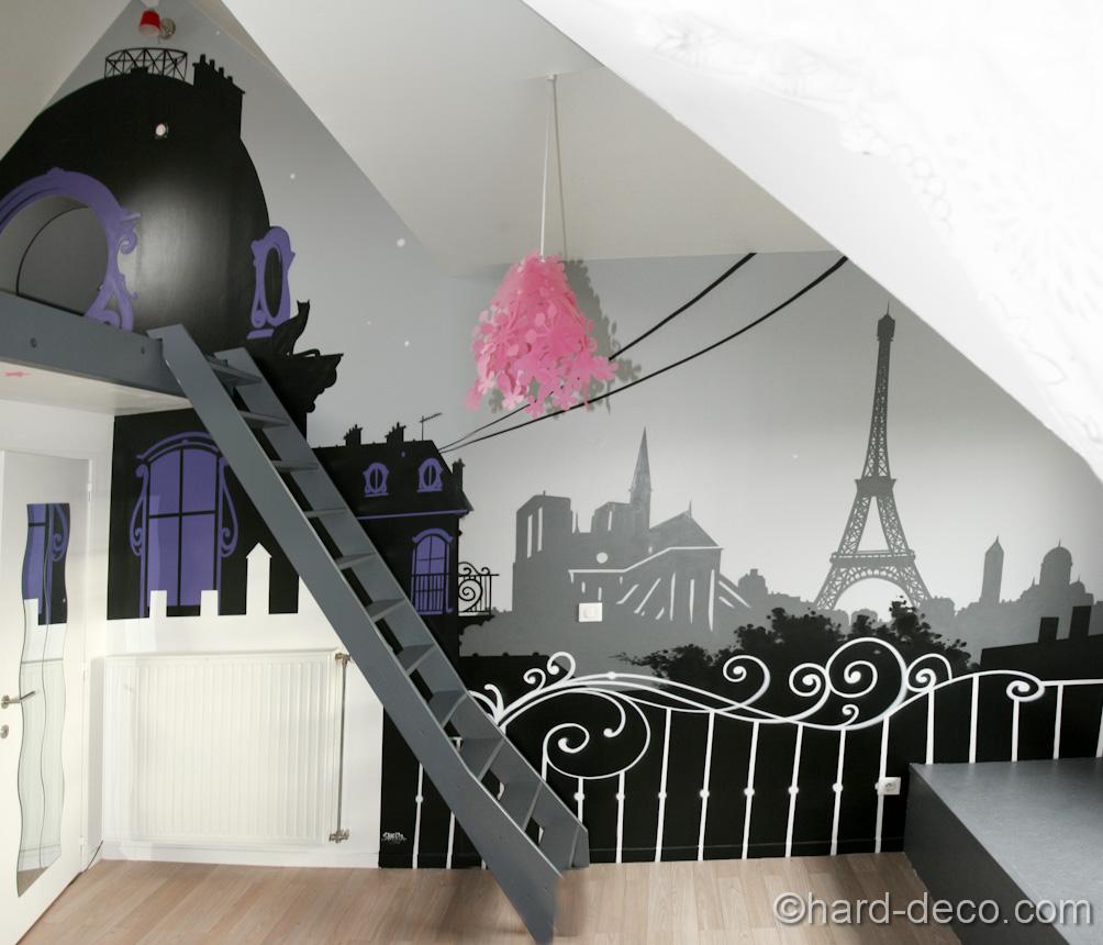Deco Chambre Fille Theme Paris Visuel 2
