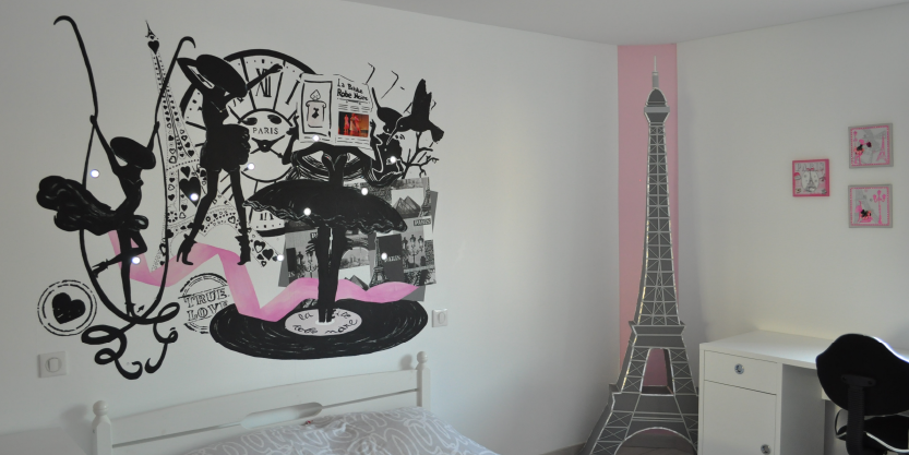 deco chambre fille theme paris visuel 5. Black Bedroom Furniture Sets. Home Design Ideas