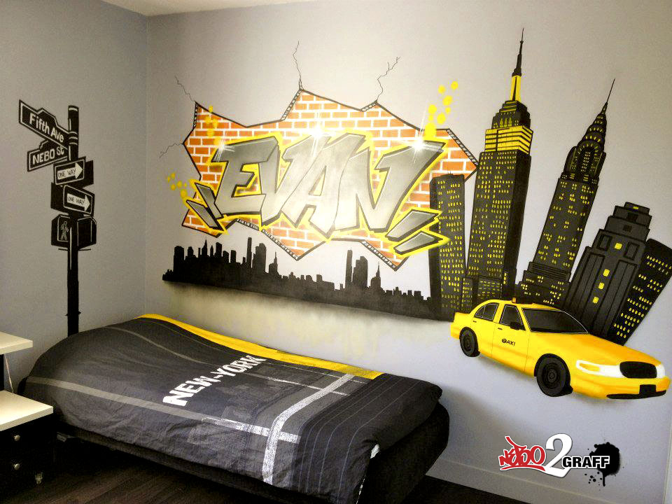 D co chambre new york jaune d co sphair for Decoration murale ville