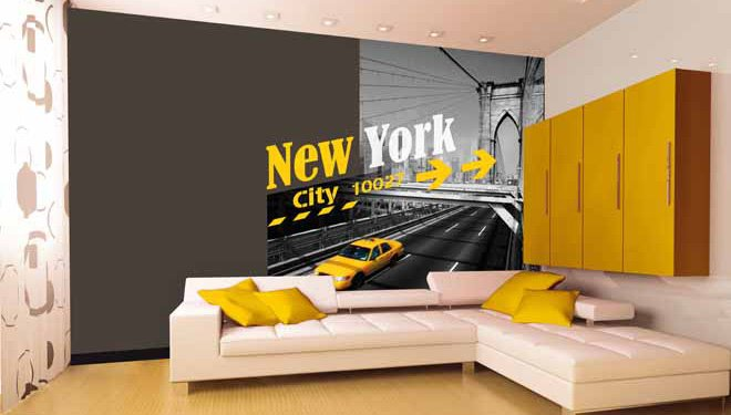 deco chambre new york jaune visuel 8. Black Bedroom Furniture Sets. Home Design Ideas