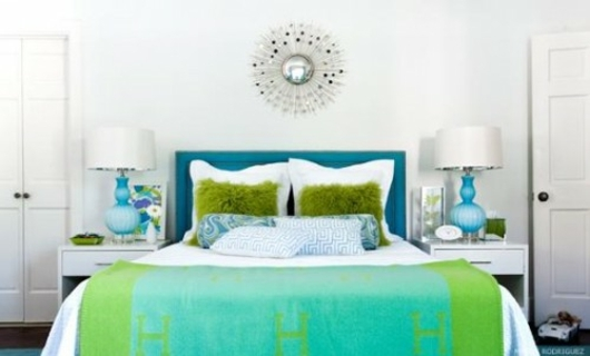 d coration chambre vert et bleu. Black Bedroom Furniture Sets. Home Design Ideas