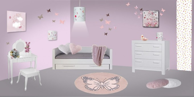 D co chambre bebe fille papillon for Chambre bebe fille rose pale