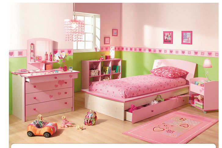 decoration chambre de fille rose et vert visuel 2. Black Bedroom Furniture Sets. Home Design Ideas