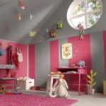 decoration chambre de fille rose et vert