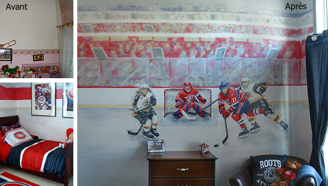 D coration chambre hockey canadien for Chambre a coucher queen montreal