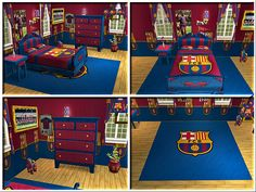 D co chambre fc barcelone for Decoration chambre real madrid