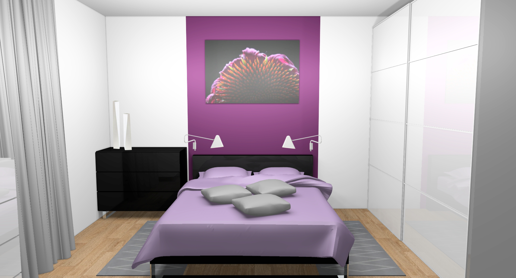 Idee deco chambre parents for Chambre prune et blanc
