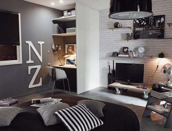 D co chambre noir et blanc ado - Idee deco chambre noir et blanc ...