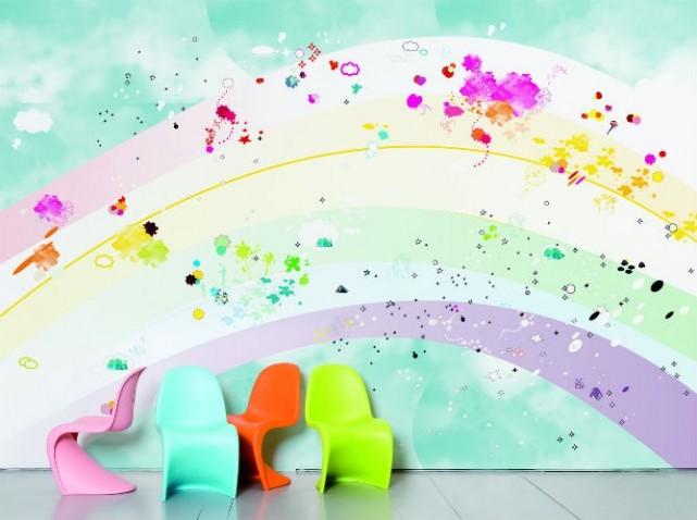 Deco chambre bebe arc en ciel visuel 7 - Papier peint pour enfant ...