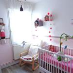 deco chambre bebe fille rose et vert