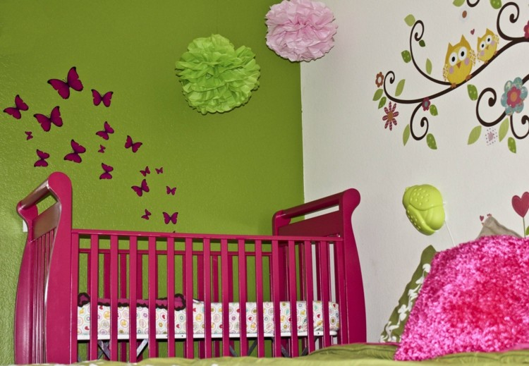 deco chambre bebe fille rose et vert visuel 1. Black Bedroom Furniture Sets. Home Design Ideas
