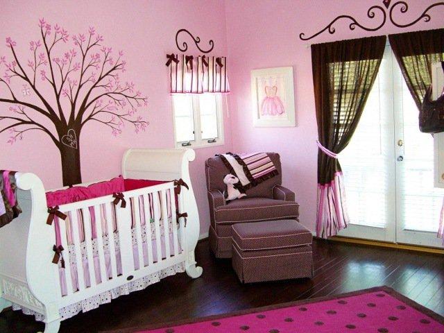 deco chambre bebe rose et marron - visuel #2